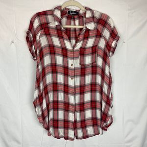 Lulus Plaid Button Front Soft Tunic Med